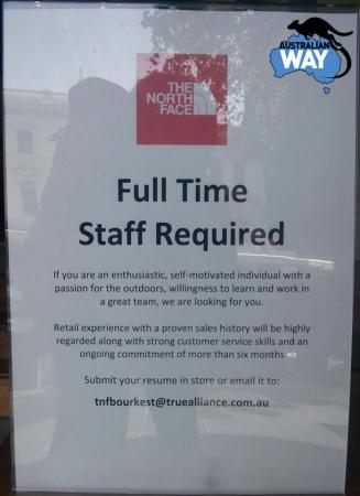ofertas de trabajo en australia Melbourne. estudia y trabaja en australia. australianway.es estudiaenaustralia.es. Elizabeth Street, The North Face