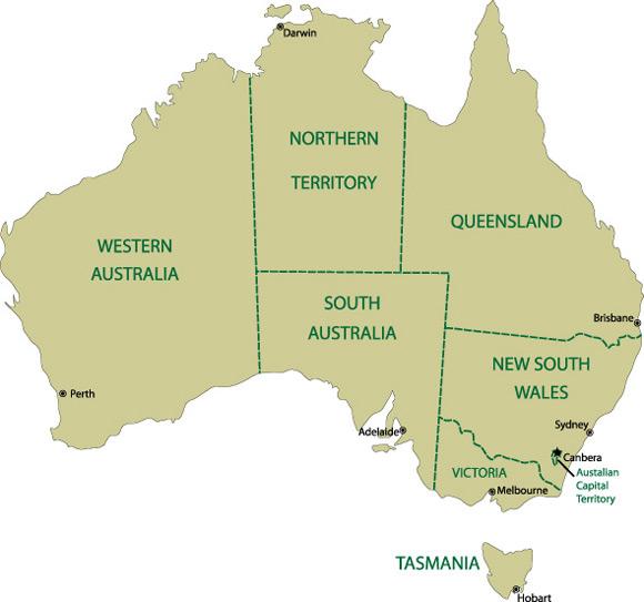 estados en australia, estudiar en australia, trabajar en australia, australian way